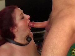 Fat redhead subslut Scorpio dick and ball gagged