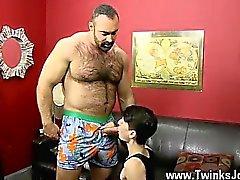Ile Eşcinsel jocks Brad onun adamı sosis Yukarı Benjamin'in icin platform san ile kolayca kayar