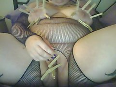 Sexy Goth BBW in Fishnets Butt Plug and Self Tit Torture