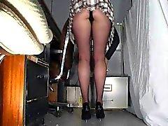 Flickakontor strumpbyxor upskirt
