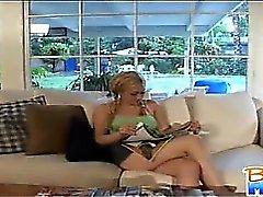 Naughty petite babysitter Gwen Diamond flirts and kisses
