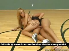 Super sexy naked blonde chick on the basketball court gets her tight pussy fucked