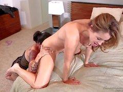 Pale brunette Dana Vespoli gets seduced by tattooed Ryan Kelly
