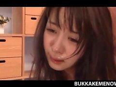 Gangbanged Japanese hoe taking bukkake and dirty anal sex