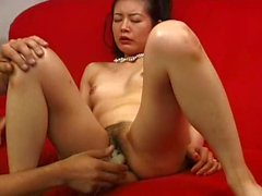 Asian granny gets masturbated