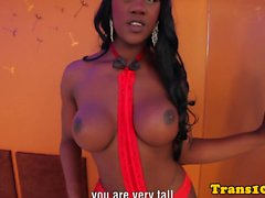 Transsexual Paris pleasures herself