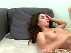 Euro casting babe masturbates before fucked