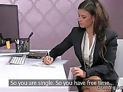 Female agent fucked on a desk in office
