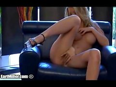 Kayden Kross Dildoing Herself On Leather Sofa