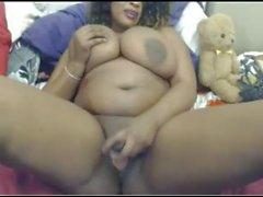 Gorgeous Ebony Tittyfucks and Fucks Dildo