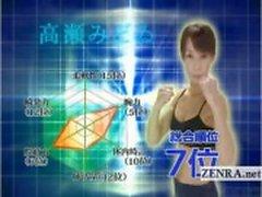 Subtitled mogna kvinnliga japanska kroppsbyggare strippning