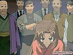 Giapponese hentai ragazza di catturate e brutalmente orgia con Mobili Bandi
