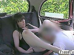 Gatito de aficionados bonito perforado en el el asiento trasero de un taxi de