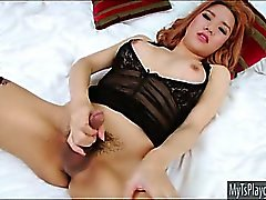 Pretty Tgirl Lisa T shows ass and poses on cam then masturbates