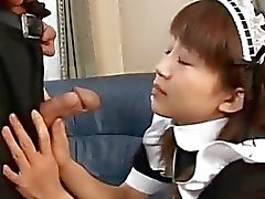 Japanese teen giving a hot blowjob Maid uncensored