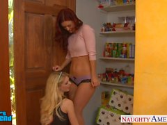 Sexy lesbians Jana Jordan and Karlie Montana toying twats