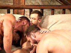Threesome gay muscular com creampie