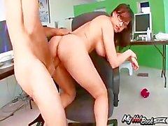 Jennifer White is a beautiful brunette secretary