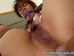 Asian tied up bitch squirts from her bdsm ses