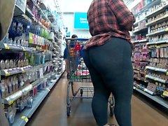 Huge ass wearing spandex and flip flops