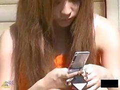 Junge japanische Mädchen ohne Höschen