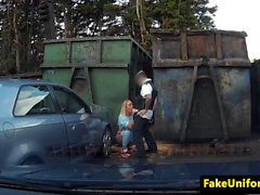 Facialized prisoner fucks cop on car