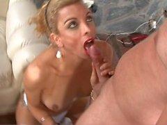 Blonde riding a big dick
