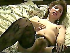 Dazzling brunette wife in black stockings gets pounded hard