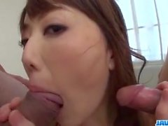 Rei Furuse moans hard with both her holes pumped