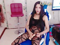 Beautiful Chinese Tranny Girlfriend in black pantyhose Cums at 40:25