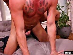 Big dick gay oral sex with creampie