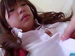 Artificiale Okada studentessa in manche brama da un grosso cazzo