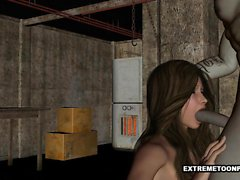 Babe 3D suce et se fait baiser par un clown zombie
