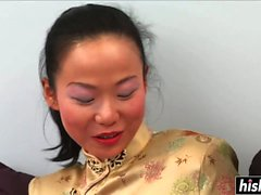 Skinny Asian girl takes care of a dick
