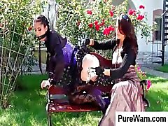 Lesbian slave is in the backyard and gets covered with cream