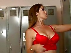 Angelic stunning busty redhead cheerleader undressing and gets her big ass oiled