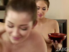 2 Hot lezzies go naughty with baby oil and a nasty massage