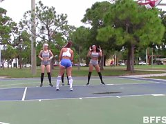 Sexy basketball babes lick and fuck