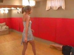 girl in sexy dress kicks guy