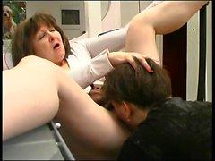 Hot mature gives handjob and blowjob