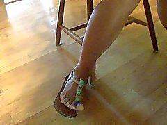 Espectáculo pie de los pies y los dedos de los zapatos que me cogí .