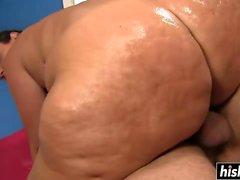 Oiled up Vanessa Blake gets slammed