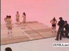 Subtitled Nudist Japan milfs volleyboll och cum ansiktsbehandling