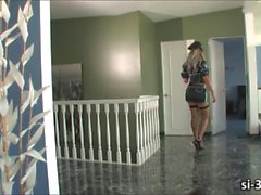Tgirl cop Ariel Everitts strips her outfit and masturbates