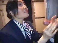 Asian Stewardess gives Hot Handjob on Airplane