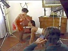 Black tranny in fucking threesome on a floor