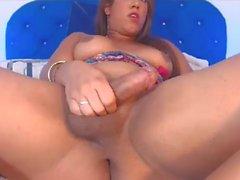 Sexy BBW Shemale stroking!