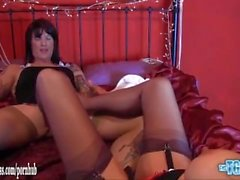 Gorgeous tranny has tight ass fucked and sexy nylon footjob before cumshot