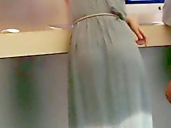 Transparan maksi elbise ile tanga külot VPL ile sevimli gençlik
