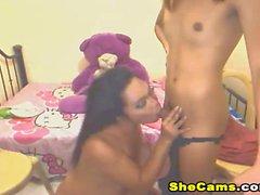 Sexy Shemales Sucking and Masturbate on Cam